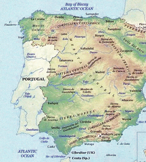 Map Of Spain With Mountains.Walkingworld Spain