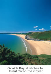 Oxwich Bay streches to Great Tor on the Gower